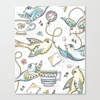 Twittering Tea Party Canvas Print