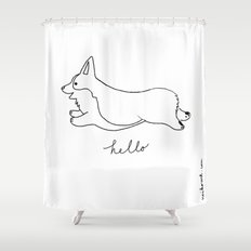 Pembroke Welsh Corgi - Hello Shower Curtain