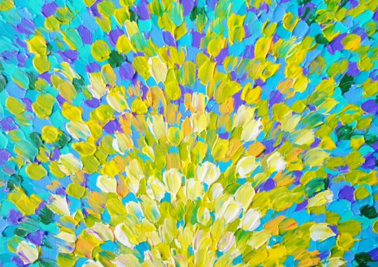 SPLASH 2 - Bright Bold Ocean Waves Beach Ripple Turquoise Aqua Lime Lemon Colorful Rainbow Wow Art Print