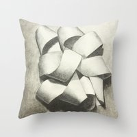 Ribbon - Graphite Illust… Throw Pillow