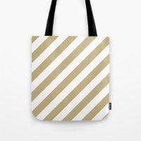 Diagonal Stripes (Sand/White) Tote Bag