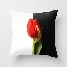 Black and White and Red Tulip Throw Pillow
