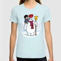 Inflatable Snowman Womens Fitted Tee Light Blue SMALL