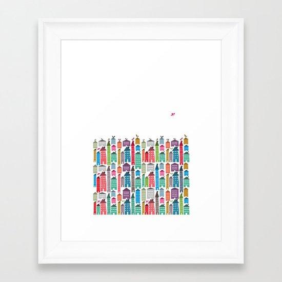 Houses and Birds Framed Art Print