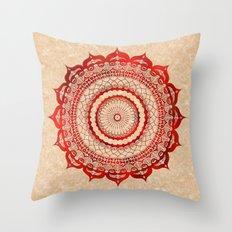 omulyána red gallery mandala Throw Pillow
