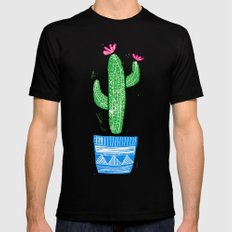 Linocut Cacti #2 in a pot Mens Fitted Tee Black SMALL