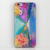 AROUND THE RIVERBEND - Autumn River Modern Nature Pochahontas Abstract Landscape Acrylic Painting iPhone & iPod Skin