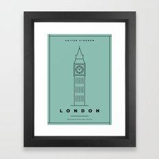 Minimal London City Poster Framed Art Print
