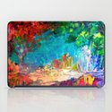 WELCOME TO UTOPIA Bold Rainbow Multicolor Abstract Painting Forest Nature Whimsical Fantasy Fine Art iPad Case