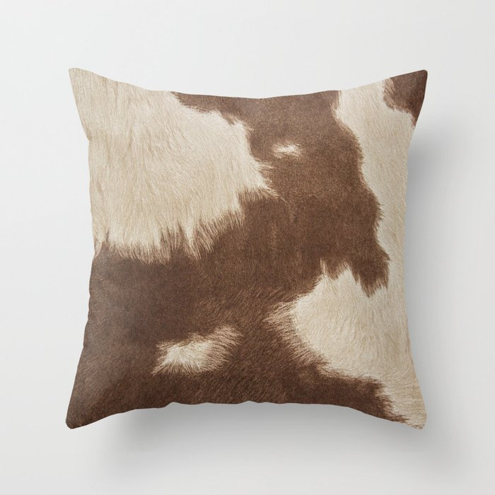 Cowhide Brown And White Throw Pillow By