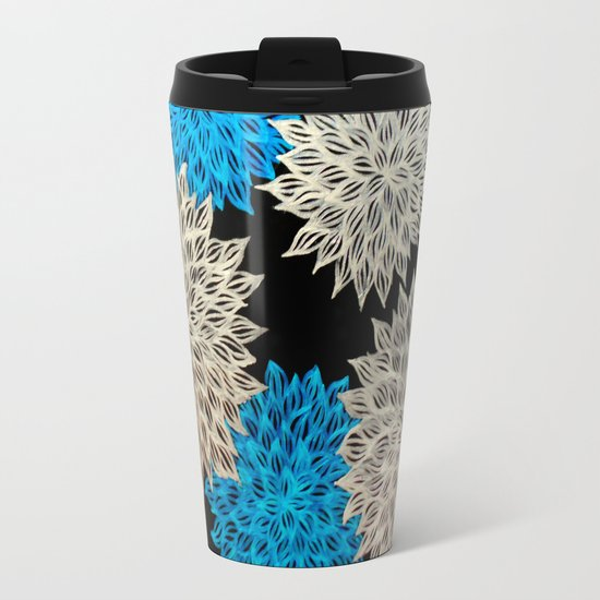 blue silver abstract acrylic painting travel mug
