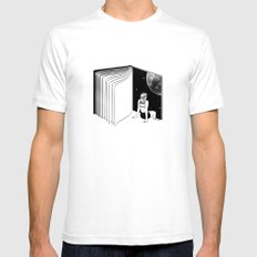 Reading is Dreaming with Your Eyes Open SMALL White Mens Fitted Tee