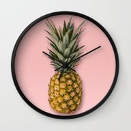 Wall Clock featuring Pineapple by Marta Li
