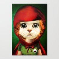 Kitten Red Riding  Canvas Print