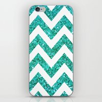 TEAL GLITTER CHEVRON iPhone & iPod Skin
