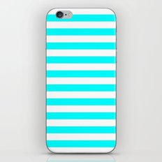 Horizontal Stripes (Aqua Cyan/White) iPhone & iPod Skin