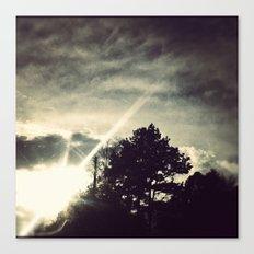 Sun setting threw the trees. Canvas Print