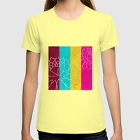 Chinese Flowers & Stripes - Pink Yellow Cyan Red Womens Fitted Tee Lemon SMALL