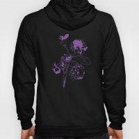 Hydranga - purple on blue Hoody