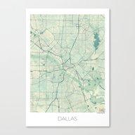 Dallas Map Blue Vintage Canvas Print