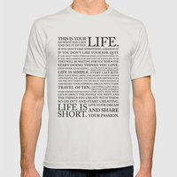LIFE IS Mens Fitted Tee Silver SMALL