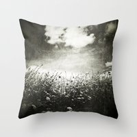 Counting Flowers Like Stars - Black and White Throw Pillow