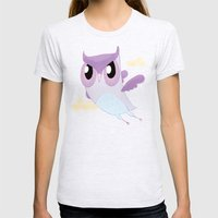 Purple Owl Womens Fitted Tee Ash Grey SMALL
