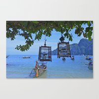 Bird Cages By The Sea Canvas Print