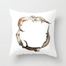 British Otter Wreath Throw Pillow