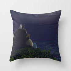 Totoro Playing The Ocari… Throw Pillow