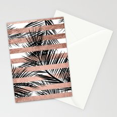 Trendy tropical palm trees chic rose gold stripes Stationery Cards