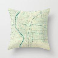Albuquerque Map Blue Vin… Throw Pillow