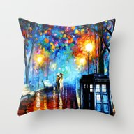Throw Pillow featuring Starry Night Tardis by Andrian Kembara