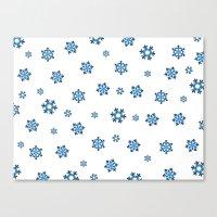 Snowflakes (Blue & Black on White) Canvas Print