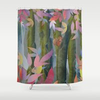 Autumn by a Waterfall Shower Curtain