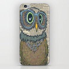 Owl wearing glasses iPhone & iPod Skin