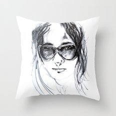 Sunglasses Girl Throw Pillow
