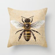 Throw Pillow featuring Bee by Paper Skull Studios