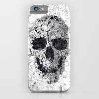 iPhone Cases featuring Doodle Skull BW by Ali GULEC