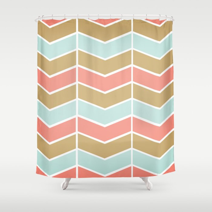 Mint Coral Gold Chevron Shower Curtain By Jenny Ardell Society6