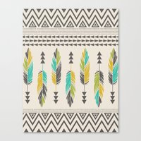 Painted Feathers-Cream Canvas Print