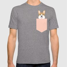 Shelby - Welsh Corgi Gif… Mens Fitted Tee Tri-Grey SMALL