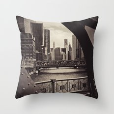 Up The Chicago River Throw Pillow