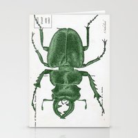 Green Beetle Postcard Stationery Cards
