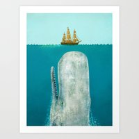 pop art Art Prints featuring The Whale  by Terry Fan