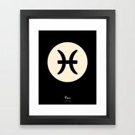Pisces Symbol Black Framed Art Print