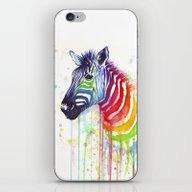 iPhone & iPod Skin featuring Zebra Watercolor Rainbow… by Olechka