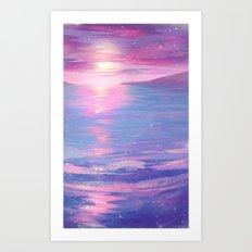 Aqua & Pink Art Print
