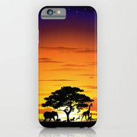 Wild Animals on African Savanna Sunset  iPhone 6 Slim Case