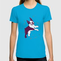 Happy Fall, Dogs! (Boston) Womens Fitted Tee Teal SMALL